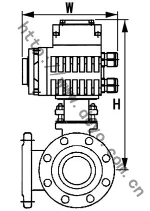 电动三通法兰球阀结构图