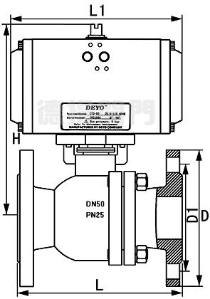 气动衬氟球阀连接尺寸图